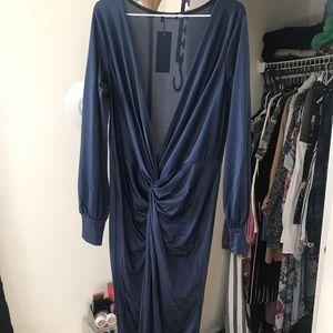 Long sleeve, plunge neck, slit dress